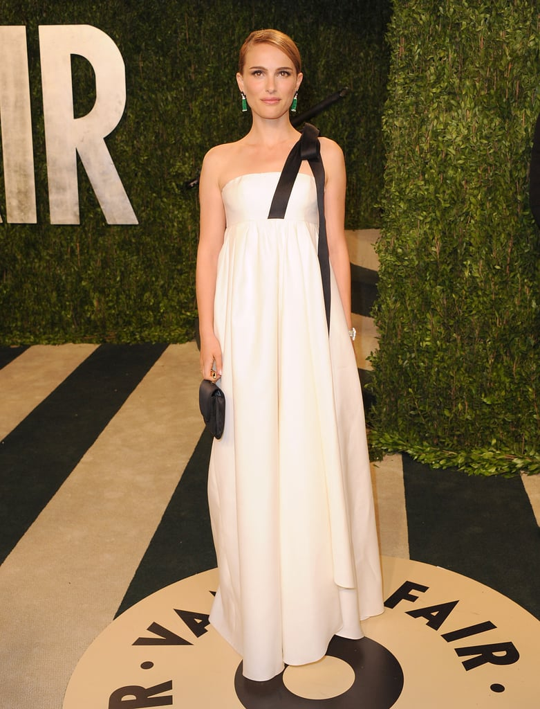 Natalie Portman in White Christian Dior Gown at Vanity Fair's 2013 Oscars Party