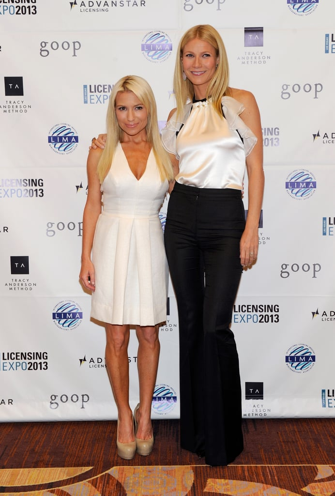 Gwnyneth Paltrow stuck close to her personal trainer and close friend, Tracy Anderson, before she made the keynote address at the Licensing Expo in Las Vegas on June 18.
