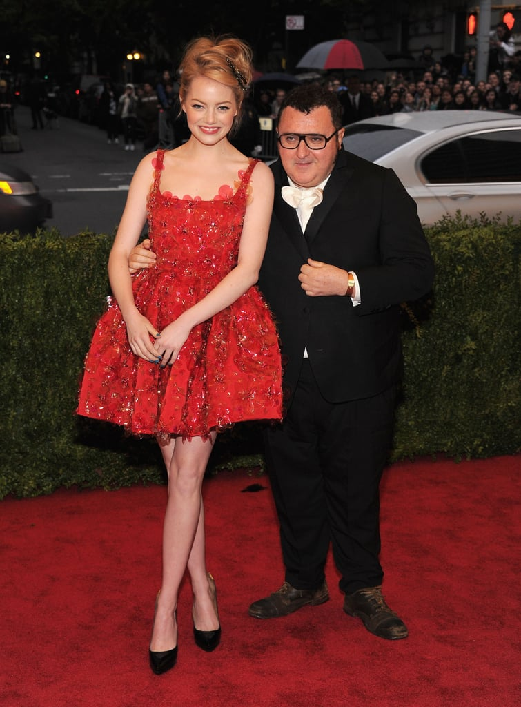 Emma was all smiles in a Lanvin dress with its designer Alber Elbaz at the 2012 Met Gala.