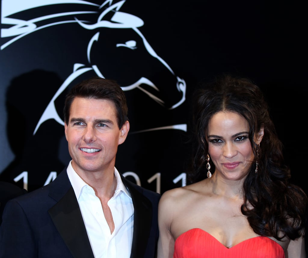 Tom Cruise and Paula Patton posed together at the premiere of Mission: Impossible – Ghost Protocol.