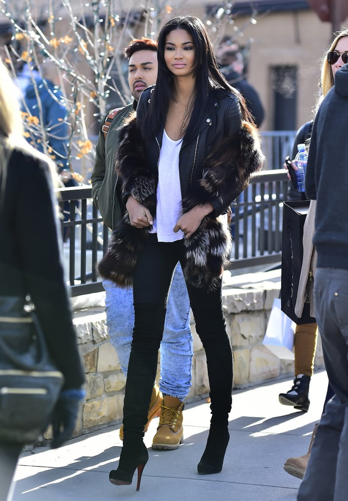 Chanel Iman wore a fur coat over her leather jacket and stayed cool with a pair of heeled boots while out in Park City, UT.