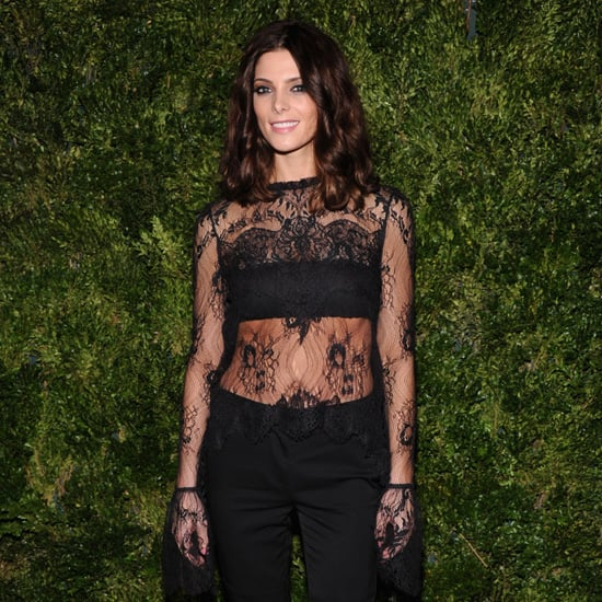 Ashley Greene Wearing Black Lace Top