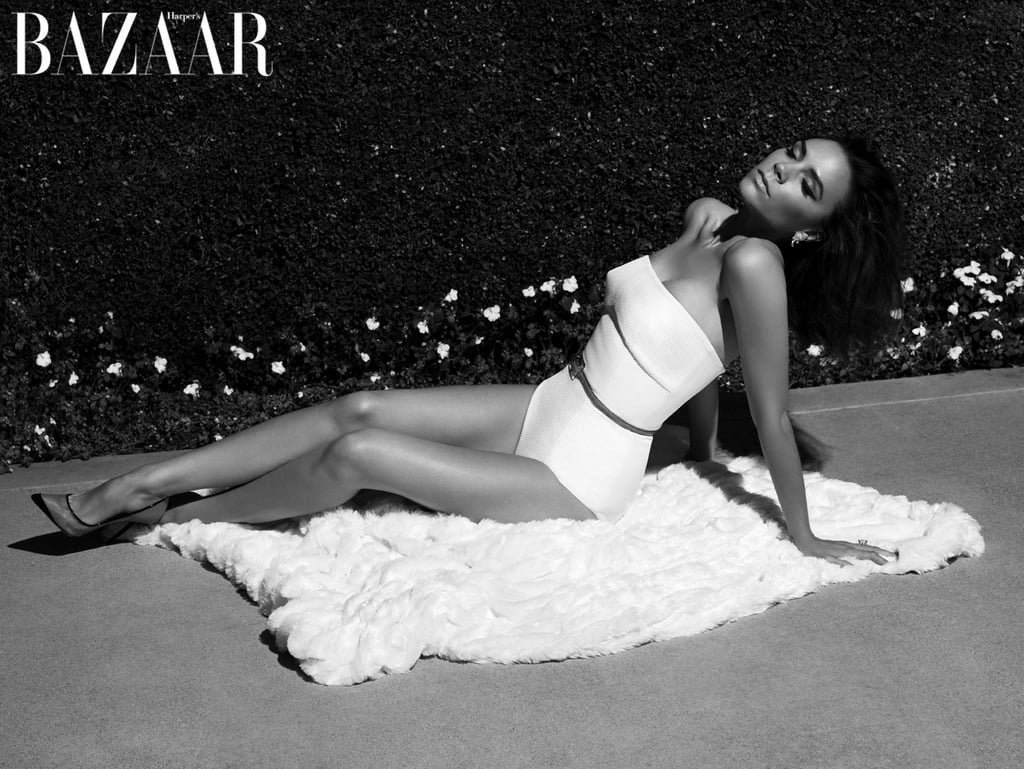 Victoria Beckham in a bathing suit for Harper's Bazaar. Photo courtesy Camilla Akrans and Harper's Bazaar UK