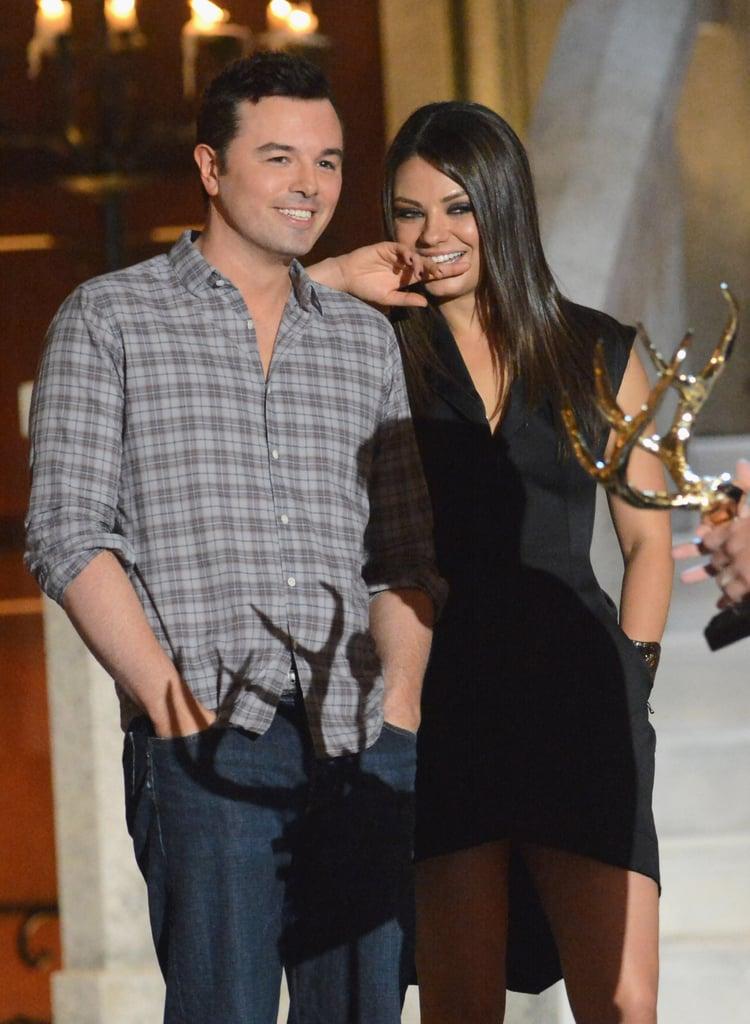 Mila Kunis cuddled up to Seth MacFarlane in 2012 at the Guys Choice Awards.