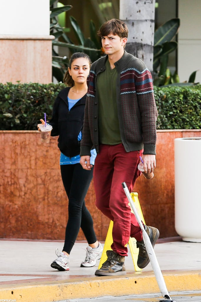Mila Kunis and Ashton Kutcher grabbed beverages at an LA Coffee Bean together.
