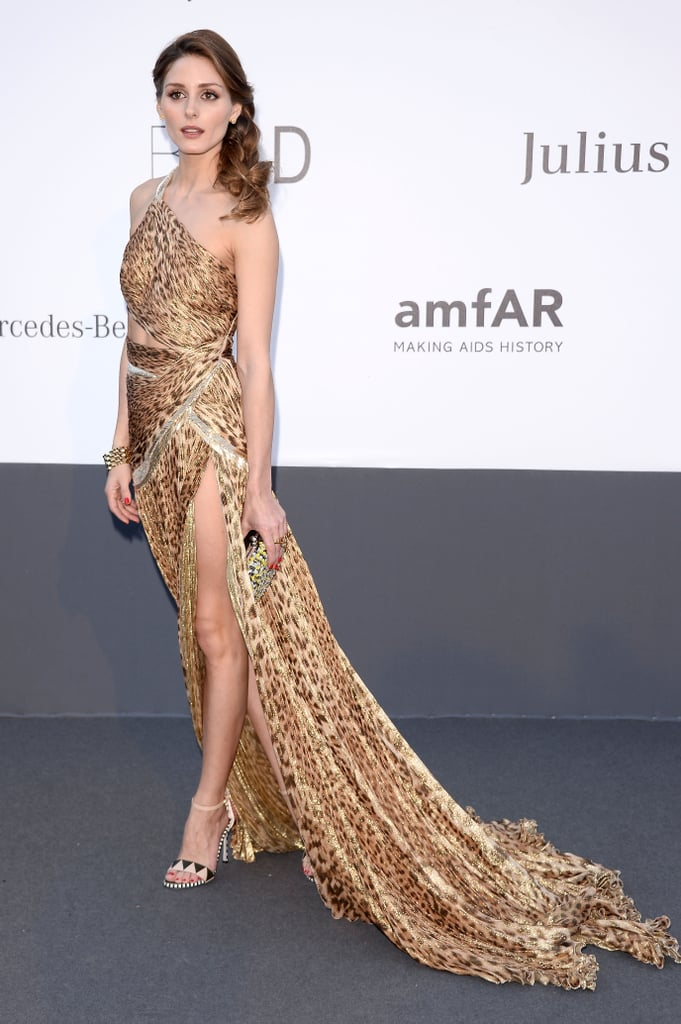 Olivia Palermo got in touch with her wild side in Sergio Rossi sandals and an animal-print Roberto Cavalli gown — hello, thigh-high slit!