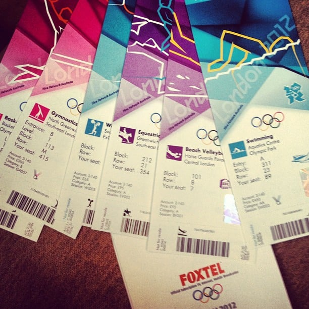 Charlotte Dawson had her tickets ready for all her Olympic events. Source: Instagram user mscharlotted