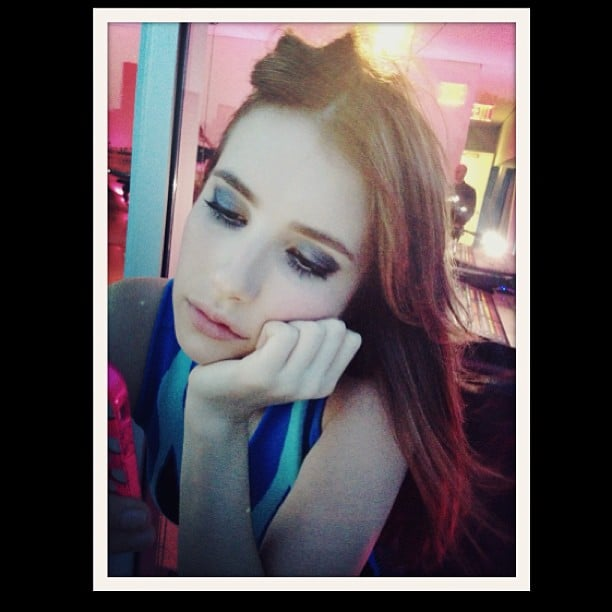 Emma Roberts shared a photo of her artsy blue eyeshadow during a photo shoot. Source: Instagram user emmaroberts6
