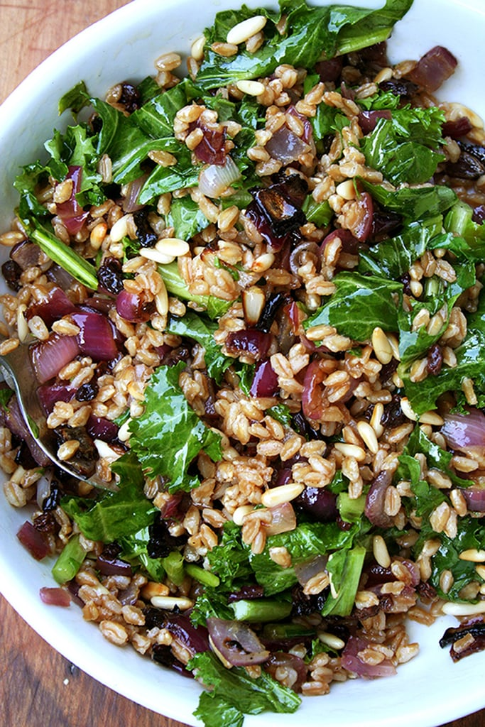Farro Salad With Toasted Pine Nuts, Currants, and Mustard Greens