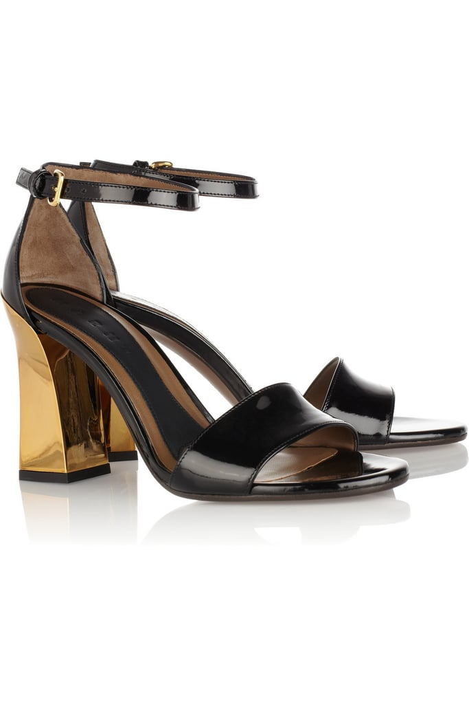 "I was sold as soon as I spotted the chunkier gold heel, but as a whole, Marni's patent leather sandals ($738) are essentially the answer to all my ""what shoes should I wear with this dress?"" problems. — Marisa Tom, associate editor"