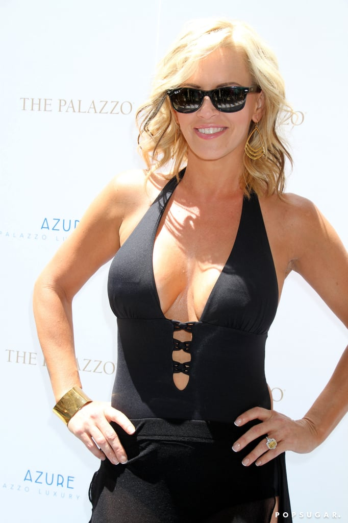 Jenny McCarthy revealed skin at an event at the Azure Luxury Pool in Las Vegas on Friday.