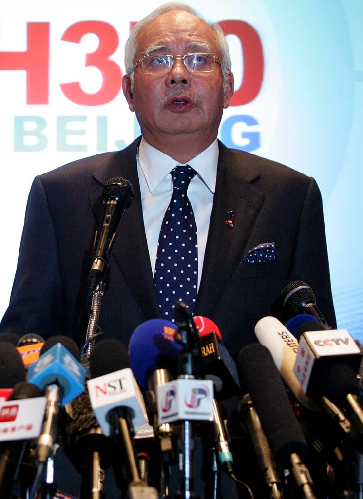 Malaysian Prime Minister Najib Razak addressed the media at a press conference on Saturday.