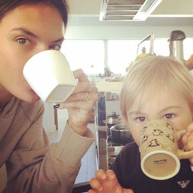 Alessandra Ambrosio sipped from mugs with her son, Noah. Source: Instagram user alessandraambrosio