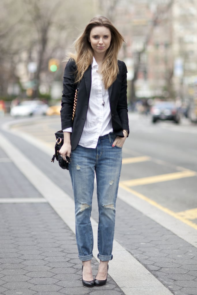 Take your favorite button-down and jeans to work with a blazer and pumps. Source: Le 21ème | Adam Katz Sinding