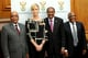 Charlize Theron discussed the fight against HIV and AIDS for young women alongside South African President Jacob Zuma, Executive Director of UNAIDS Michel Sidibé, and South African Health Minister Aaron Motsoaledi.
