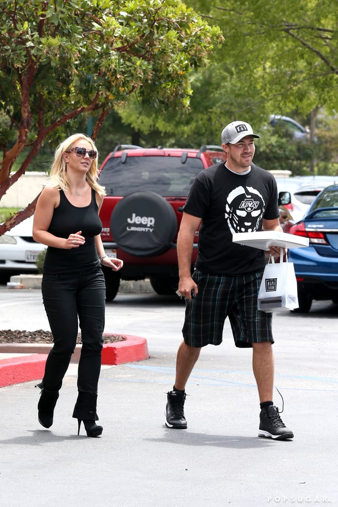 Britney Spears showed off her body in a tight black outfit for lunch with David Lucado.