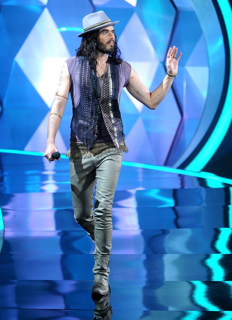 Russell Brand tossed a wave at the crowd.