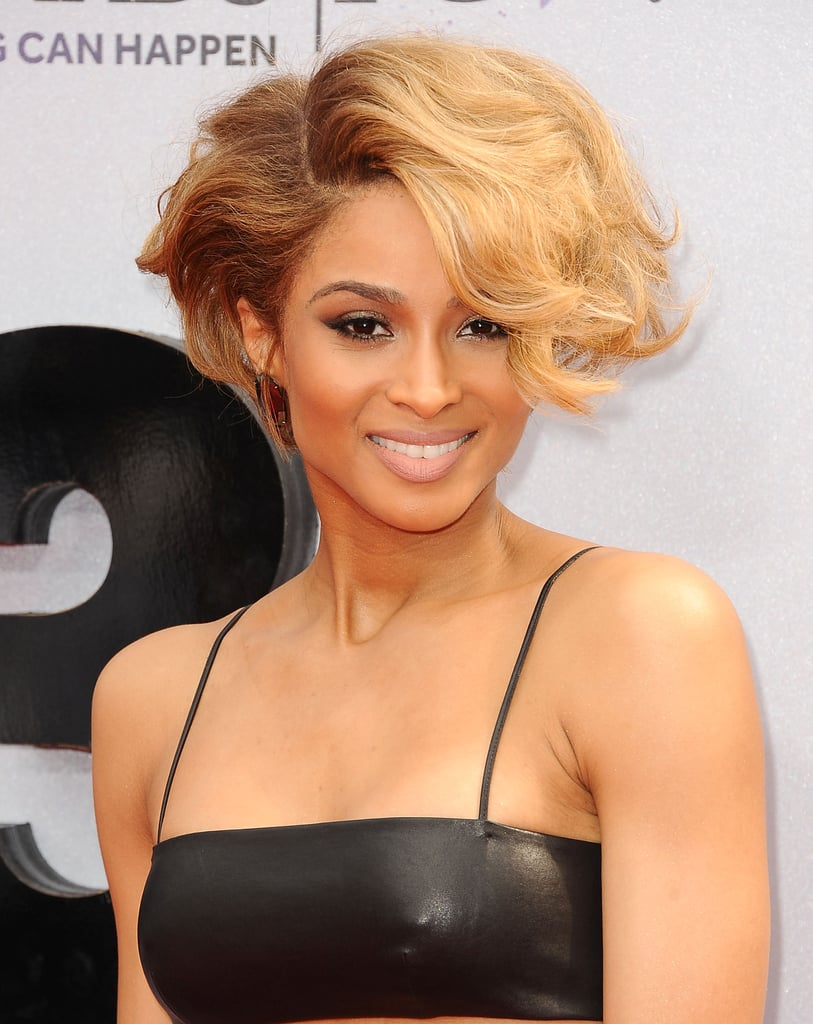 Volume and texture were the key to Ciara's hairstyle, while her makeup focused on a winged eyeliner look.