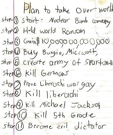 Psycho Child Draws Up To Do List