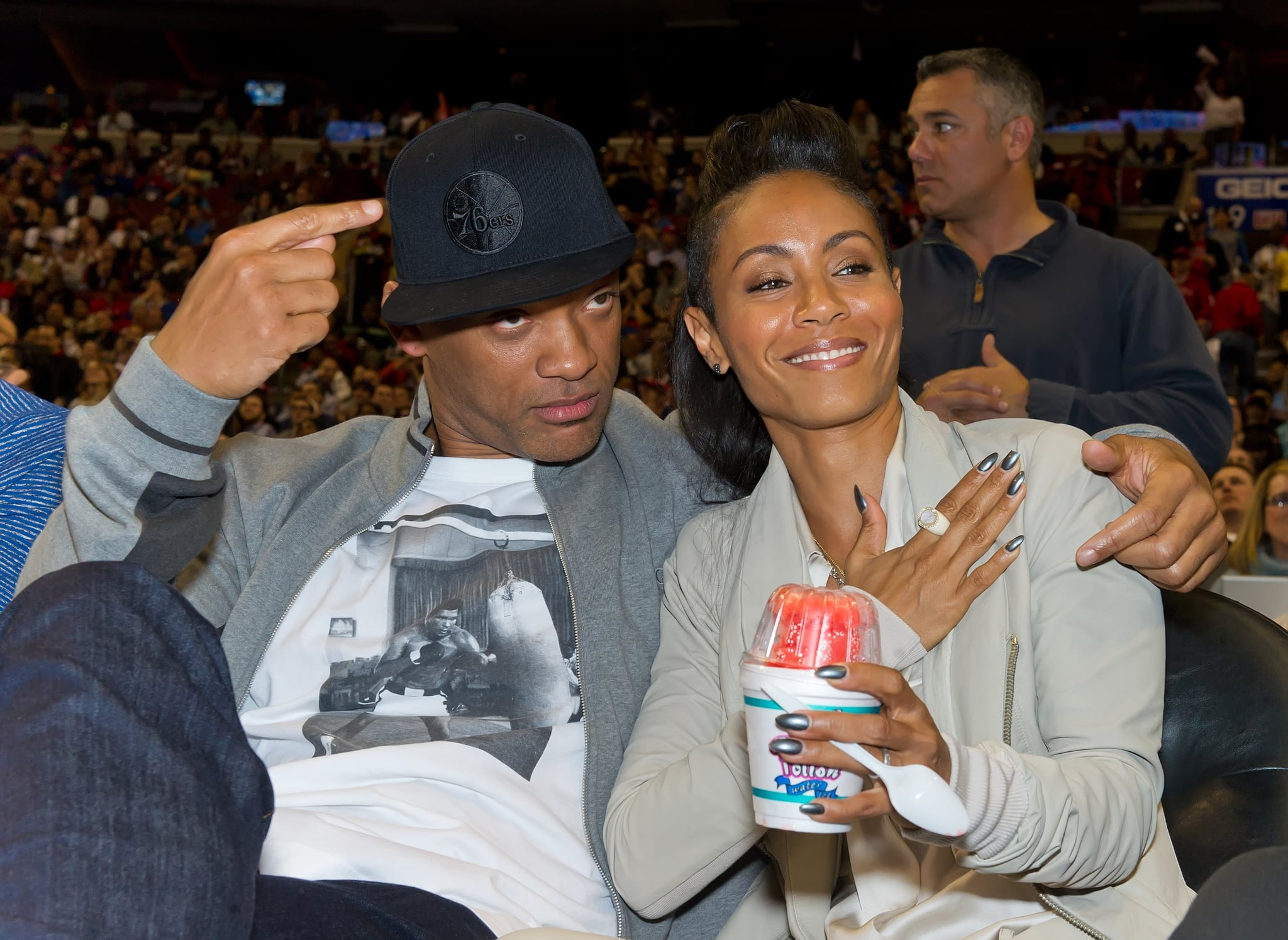 Will Smith repped his hometown team, the Philadelphia 76ers, while watching them play the Miami Heat with his wife, Jada Pinkett Smith, in March 2012.