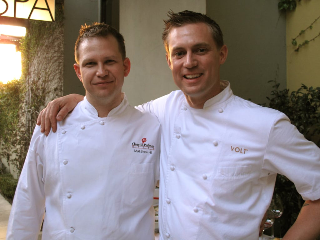 Bryan Voltaggio poses with Matt Hill, executive chef of Charlie Palmer Steak in Washington DC.
