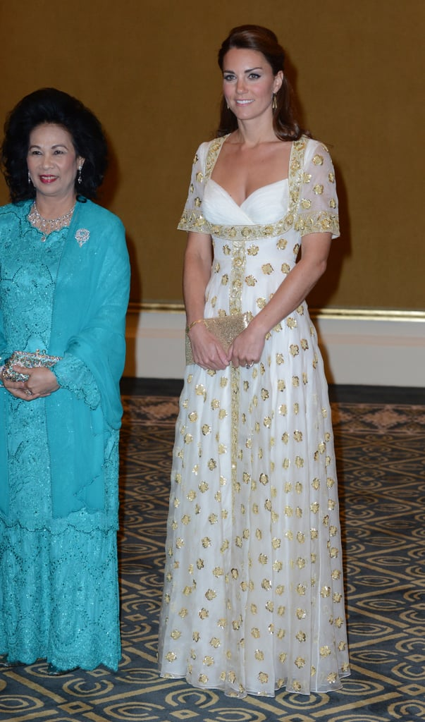 Kate Middleton wore a white and gold number when she attended a state dinner in Kuala Lumpur, Malaysia, back in September 2012.