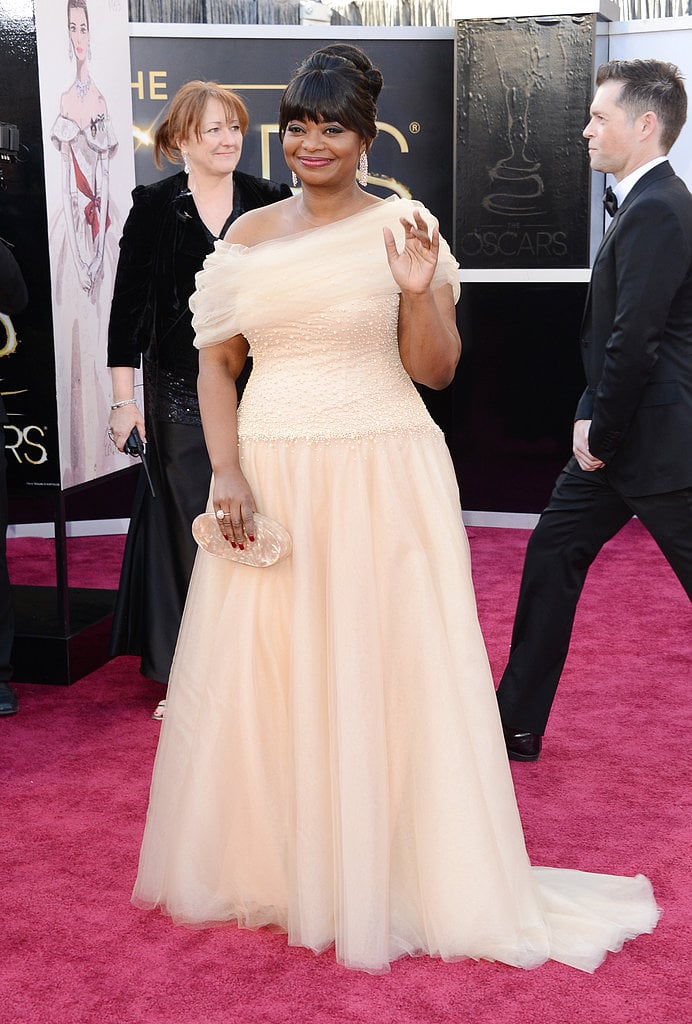 Octavia Spencer wore a blush tulle off-the-shoulder Tadashi Shoji gown.