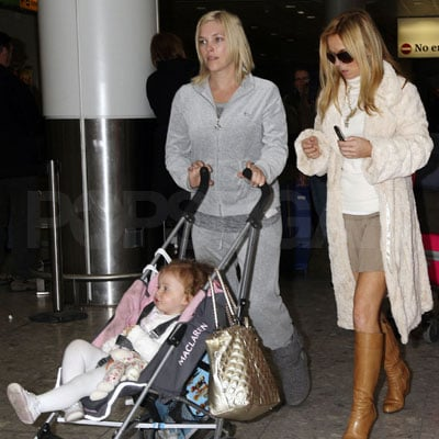 Geri Halliwell and Daughter Bluebell Madonna at Heathrow