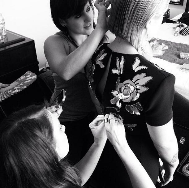 The red carpet drama started with a broken zipper for Kelly Osbourne. Source: Instagram user kellyosbourne