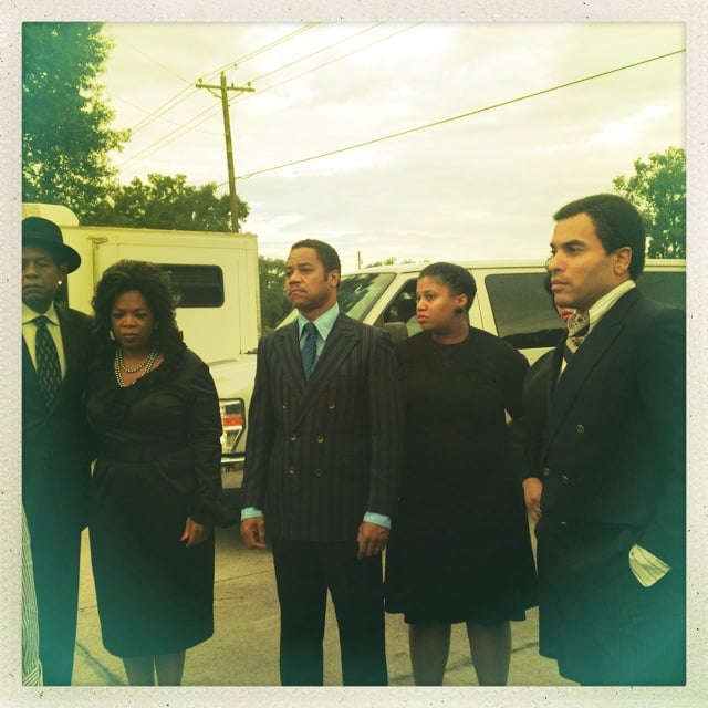Lenny Kravitz caught Oprah Winfrey and Cuba Gooding Jr. in character on the set of The Butler.  Source: Twitter user LennyKravitz
