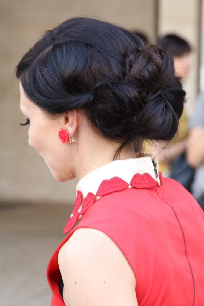 Alice + Olivia designer Stacey Bendet's twisted chignon is a gorgeous option for a formal holiday party.