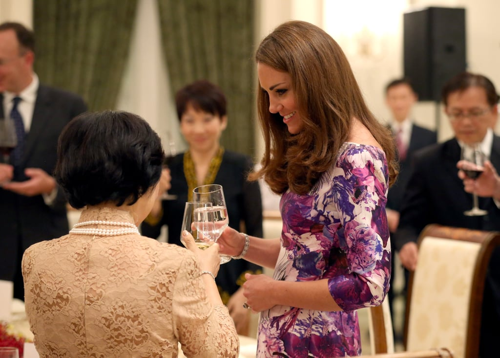 The three-quarter length sleeves provided a more modest feel to Kate's Prabal Gurung sheath.