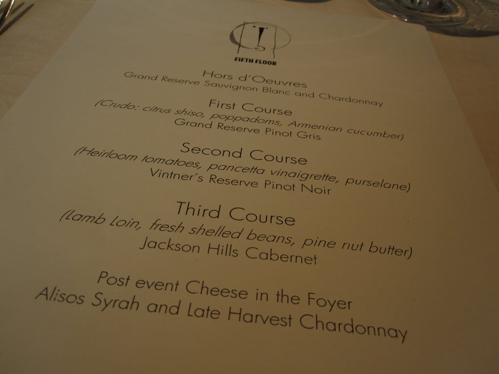 The menu for the meal. At the table I enjoyed lively conversation with Jesse the sommelier, Jay Barmann of Grub Street, and the team behind Mendocino Wine Co.