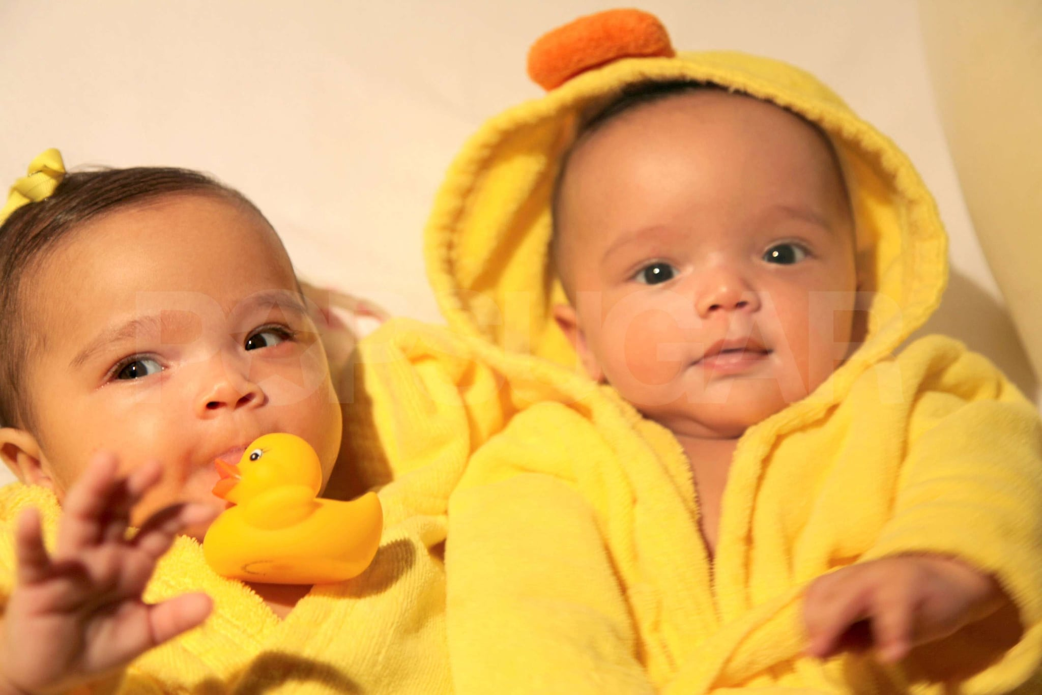 The twins Moroccan and Monroe Cannon wore matching ducky robes.