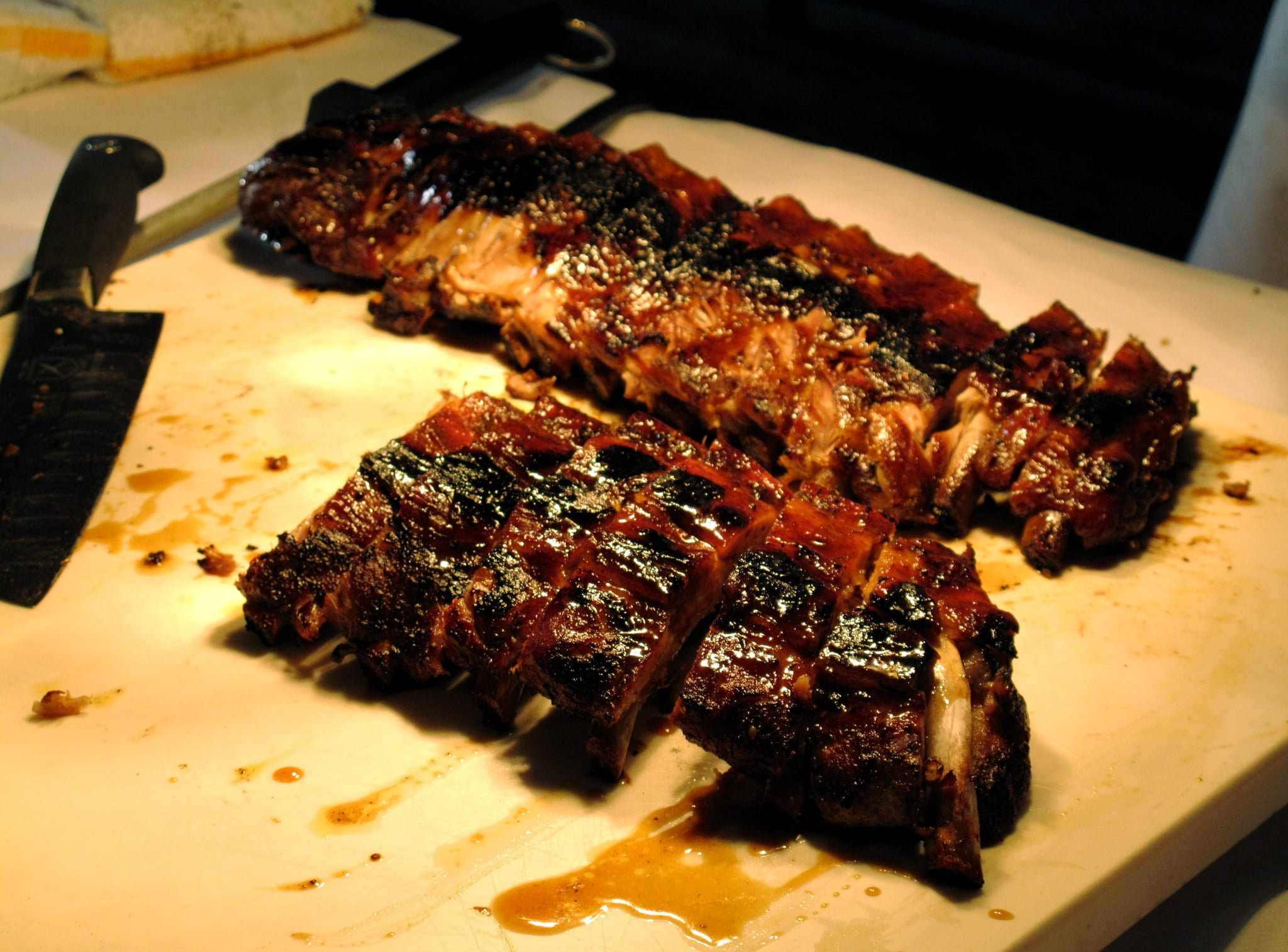 Charlie Palmer had his own station, where guests were served glazed pork ribs.