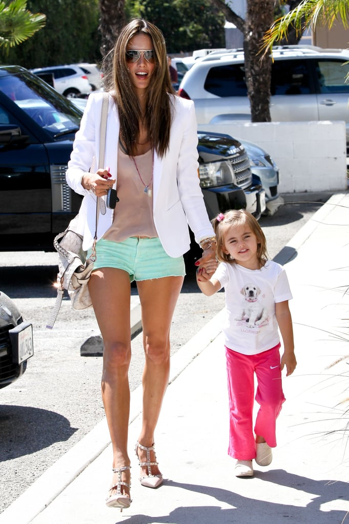 Anja Mazur had a smile on her face as she stopped by a pet store with mom Alessandra Ambrosio in LA.
