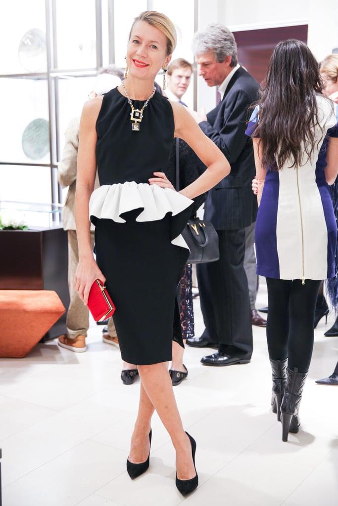 Natalie Joos joined Harper's Bazaar and Bulgari in a sleek peplum.