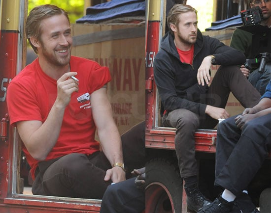 Ryan Gosling on Set of Blue Valentine Smoking