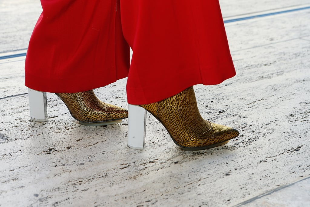 A pair of sleek 3.1 Phillip Lim boots looked impossibly cool peering out from underneath a pair of red flares.