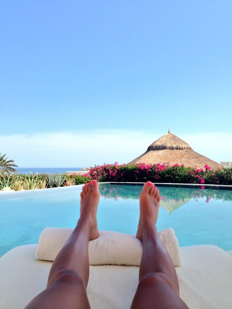 Lea Michele shared a photo of her lounging by a pool in Cabo. Source: Twitter user msleamichele