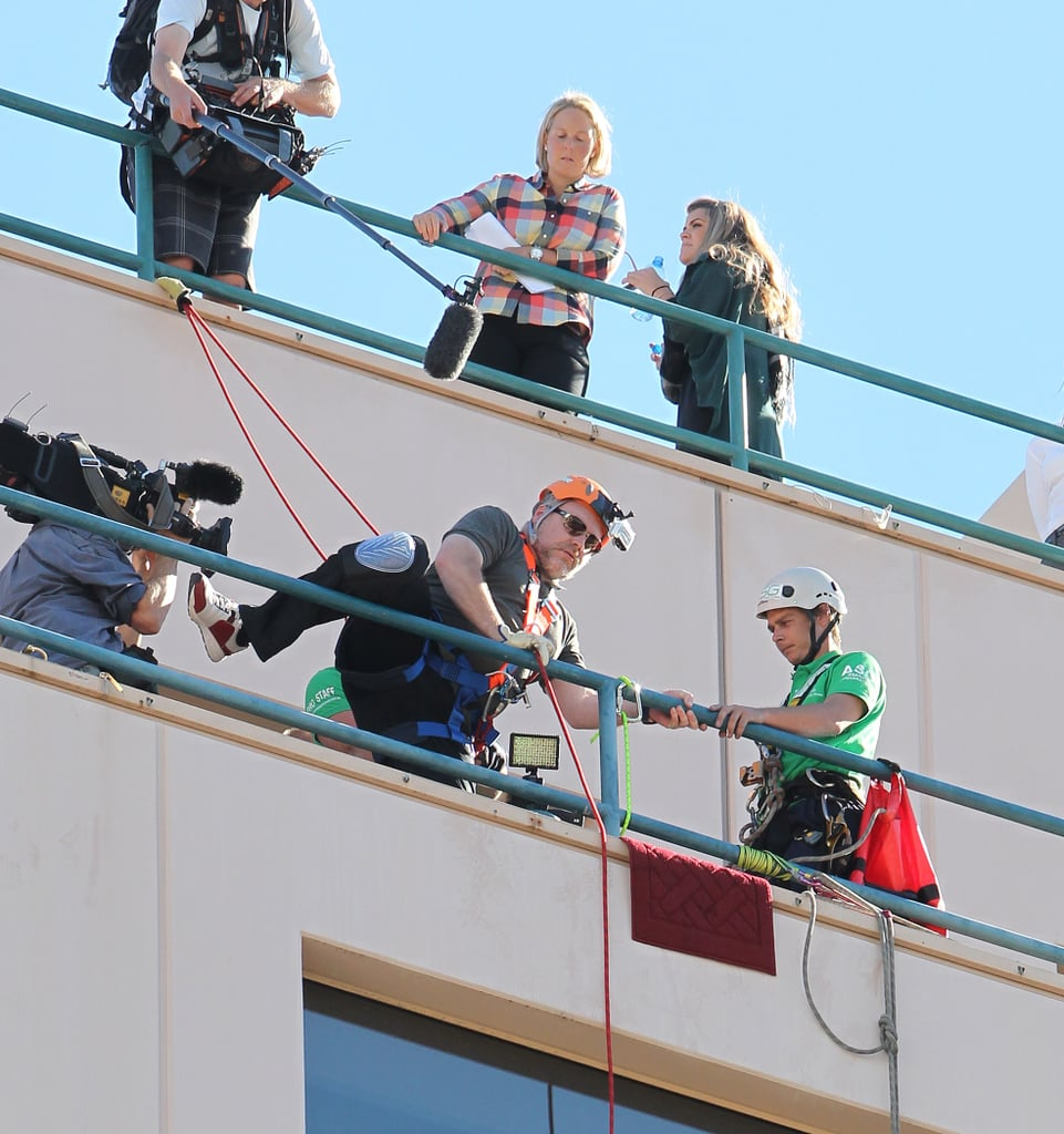 Kyle Sandilands attempted to abseil during his Amazing Race challenge in Sydney on May 22.