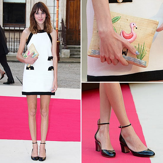 Alexa Chung Flamingo Clutch and Moschino Dress