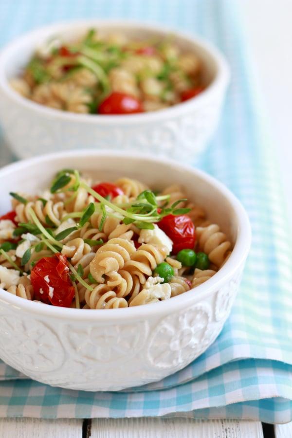 Whole-Wheat Pasta Salad With Feta and Peas