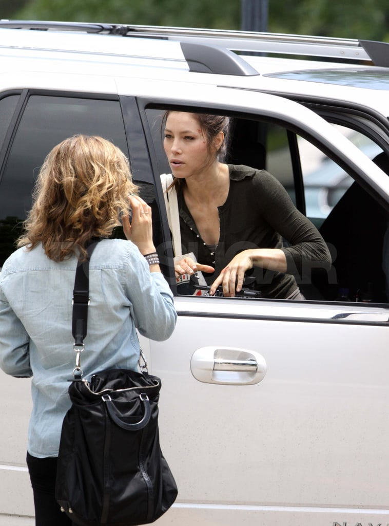 Jessica Biel wore an army green shirt to the Toronto set of Total Recall.