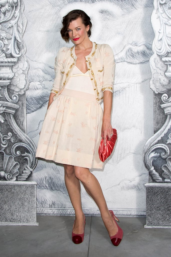 Milla Jovovich posed at the Chanel photo call in Paris.