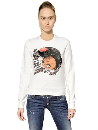 Jewelled Printed Modal Jersey Sweatshirt