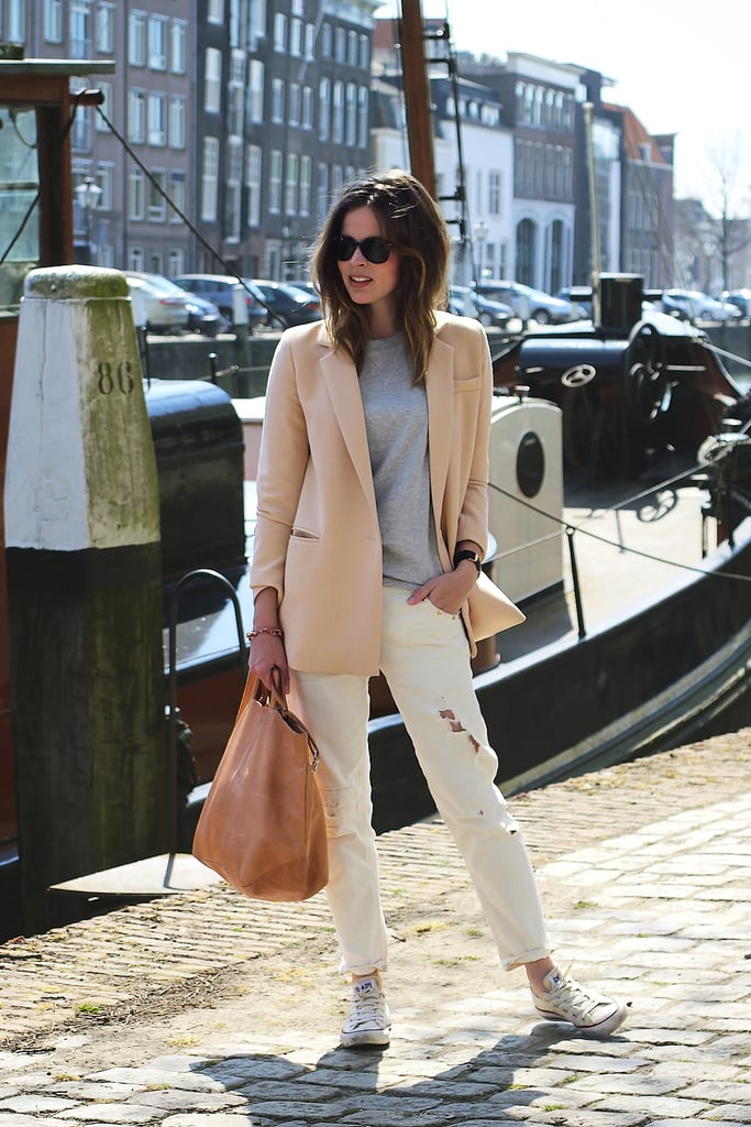 It's all about how this color palette lightens up a blazer and denim look. Source: Lookbook.nu