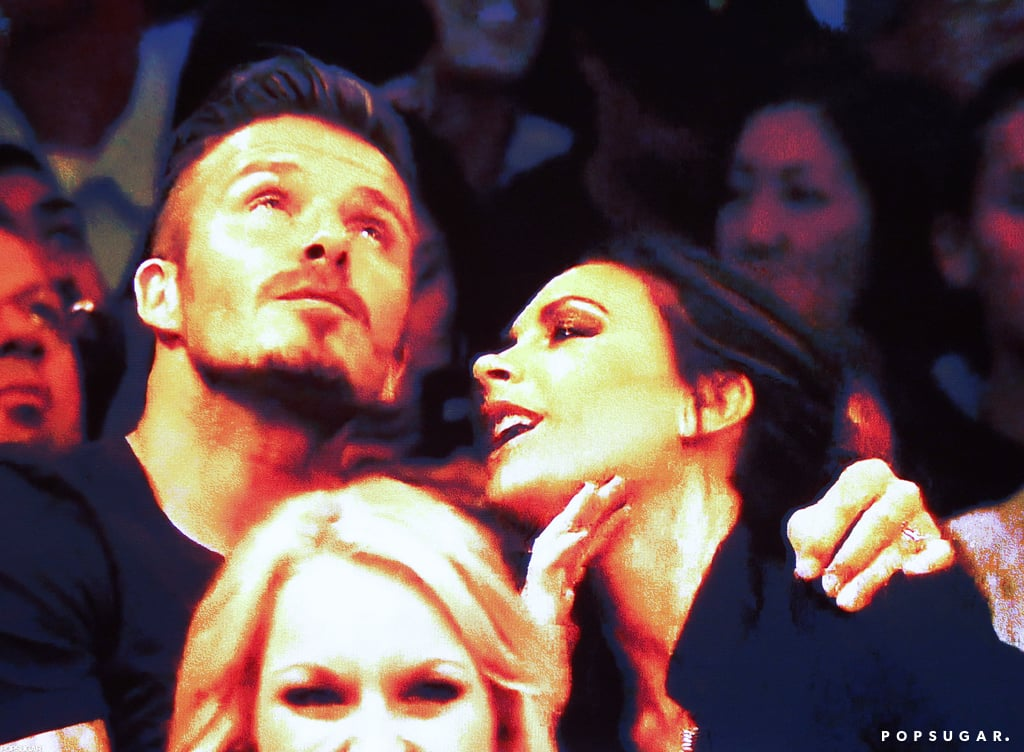 David Beckham and Victoria Beckham were too cute at the Lakers game.