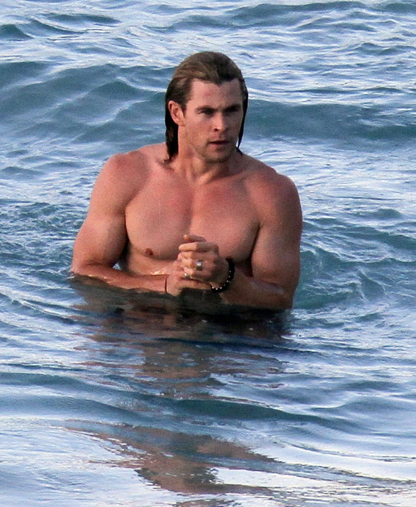 Chris Hemsworth was shirtless and sexy on a St. Barts vacation.
