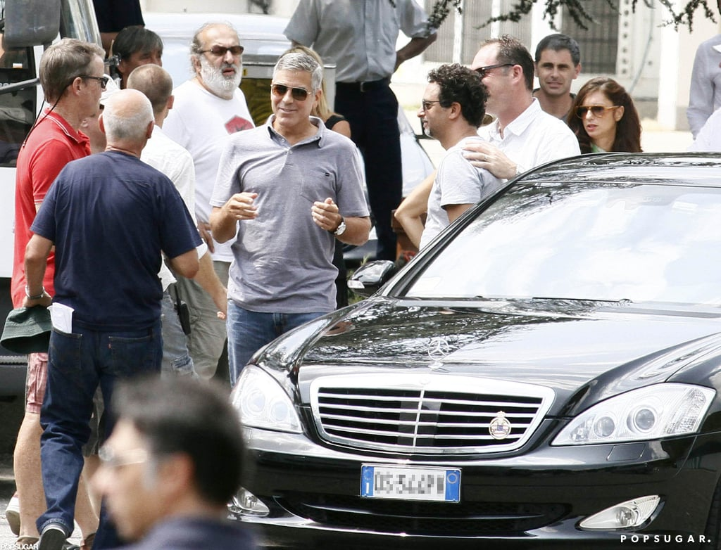 George Clooney filmed a Mercedes-Benz commercial in Italy last month.